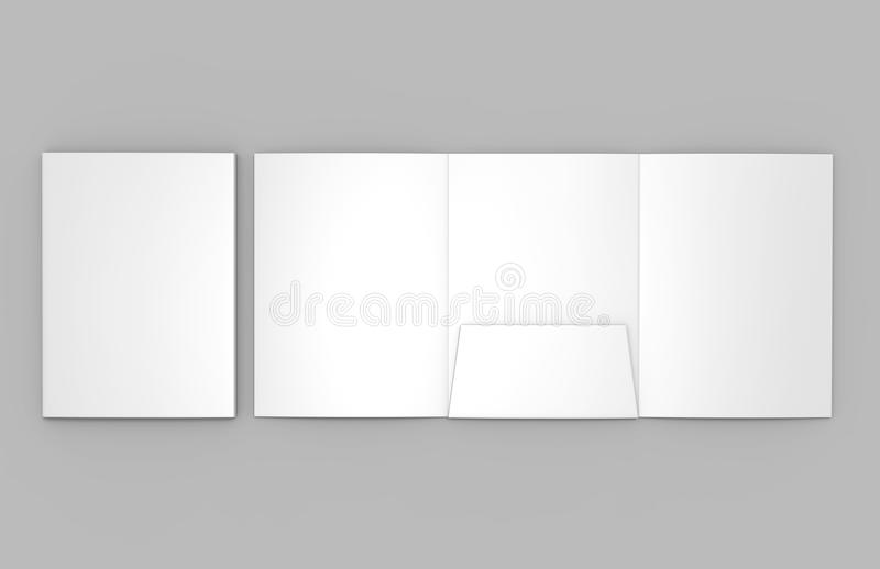 Tri-fold Blank white reinforced A4 single pocket folder catalog on grey background for mock up. 3D rendering. Tri-fold Blank white reinforced A4 single center stock illustration