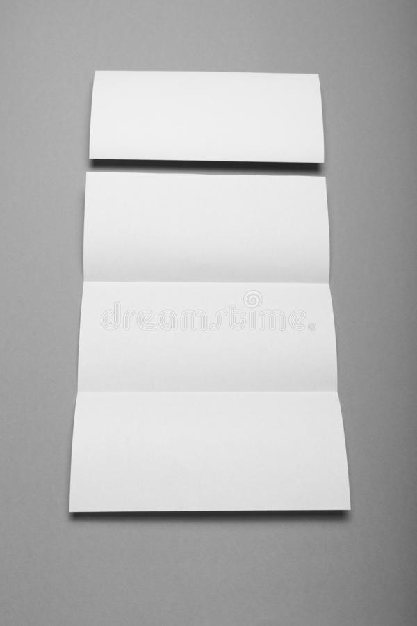 Tri fold brochure blank, empty business flyer, booklet.  stock images