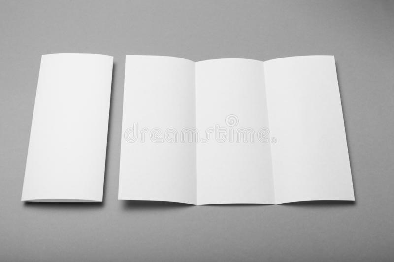 Tri fold brochure blank mockup. Booklet background.  royalty free stock images