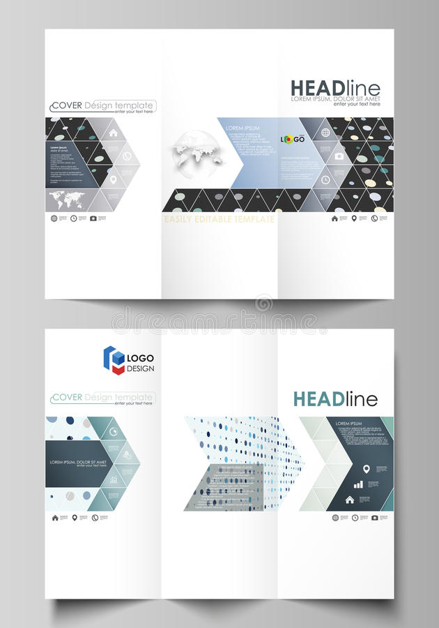 Tri-fold brochure business templates on both sides. Abstract layout in flat style. Tri-fold brochure business templates on both sides. Easy editable abstract stock illustration