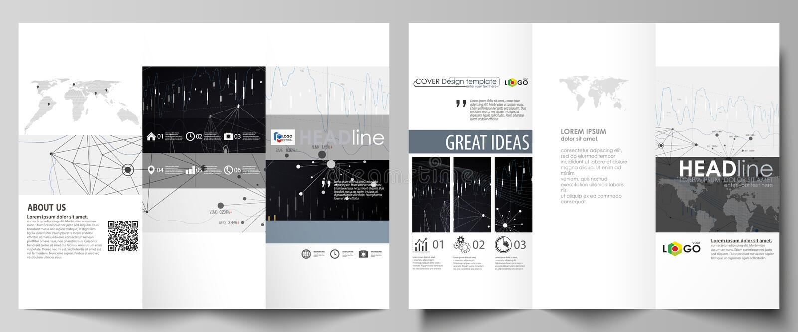Download Tri Fold Brochure Business Templates Easy Editable Vector Layout Abstract Design Infographic