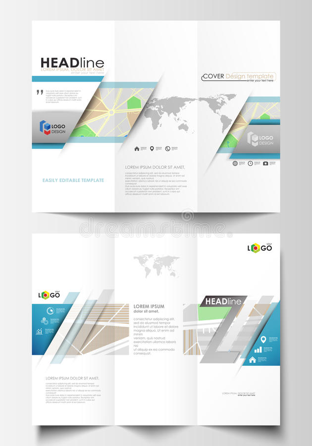 Tri-fold brochure business templates on both sides. Easy editable layout. Tri-fold brochure business templates on both sides. Easy editable abstract layout in vector illustration