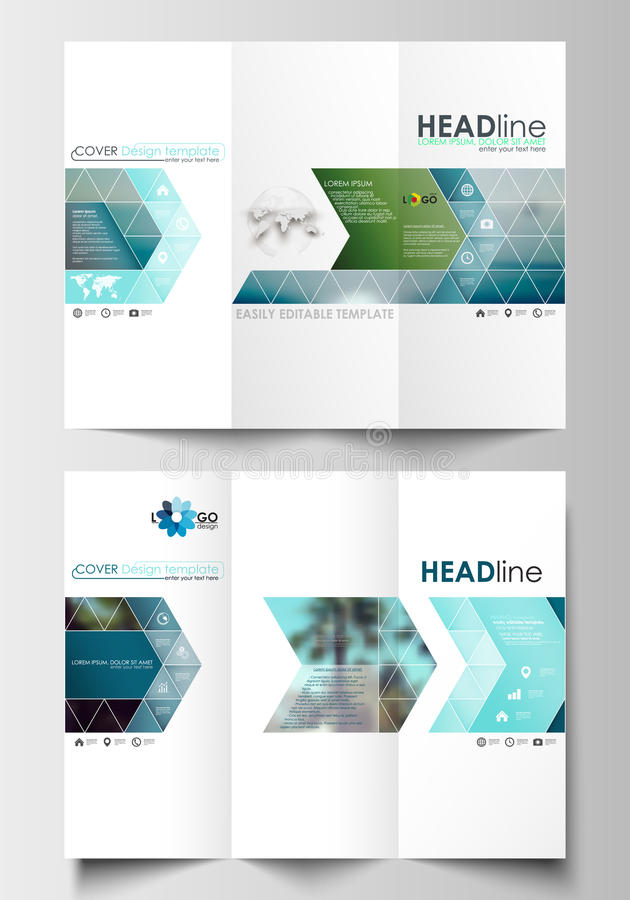Tri-fold brochure business templates on both sides. Flat design. Blue color travel decoration layout, easy editable vector template, colorful blurred natural royalty free illustration