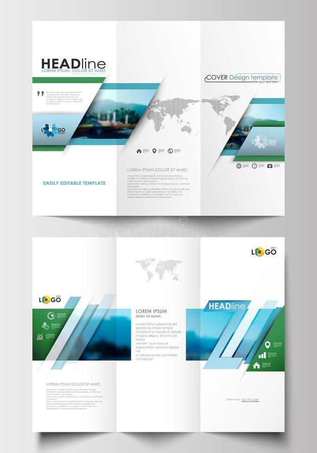 Tri Fold Brochure Business Templates On Both Sides Flat Design Blue