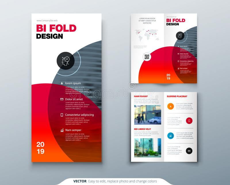Tri fold brochure design. Business template for tri fold flyer. Layout with modern circle photo and abstract background. Creative 3 folded flyer or brochure royalty free illustration