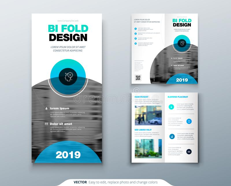 Tri fold brochure design. Business template for tri fold flyer with modern circle photo and abstract background Creative. 3 folded flyer or brochure concept royalty free illustration