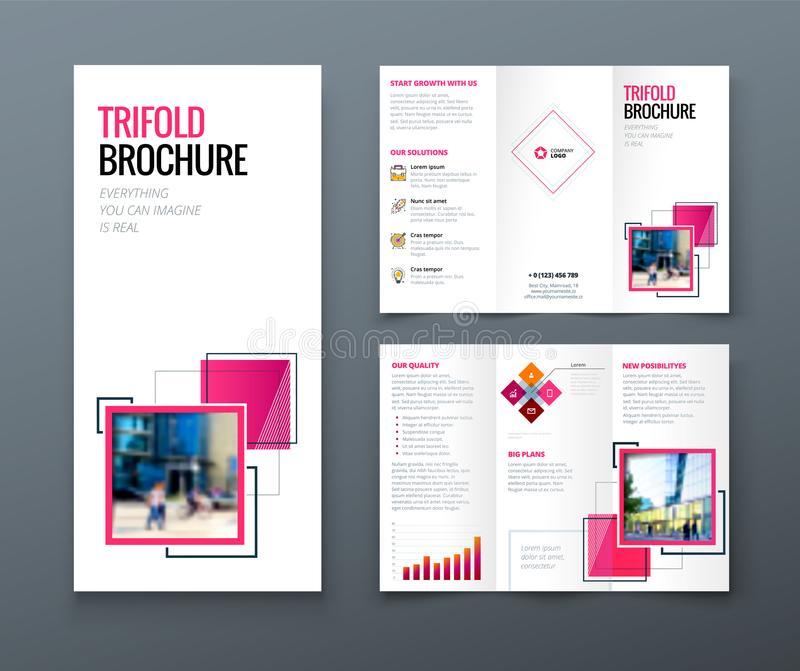 Tri fold brochure design. Corporate business template for tri fold flyer with rhombus square shapes. Tri fold brochure design. Corporate business template for royalty free illustration