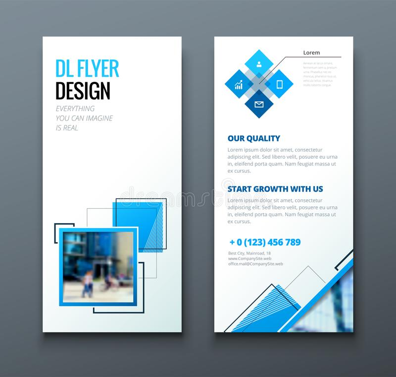 Tri fold brochure design. Corporate business template for tri fold flyer with rhombus square shapes. royalty free illustration