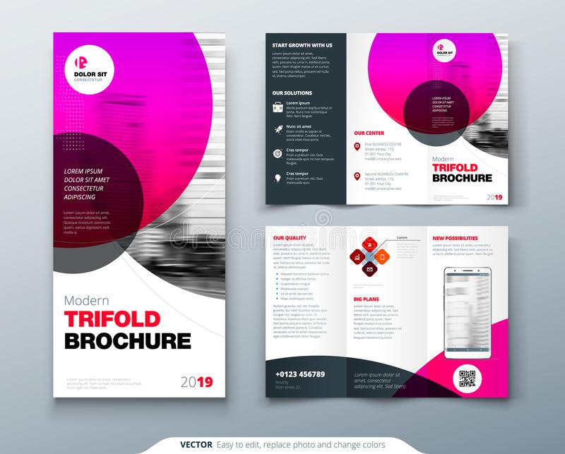 Tri fold brochure design. Pink business template for tri fold flyer. Layout with modern circle photo and abstract vector illustration