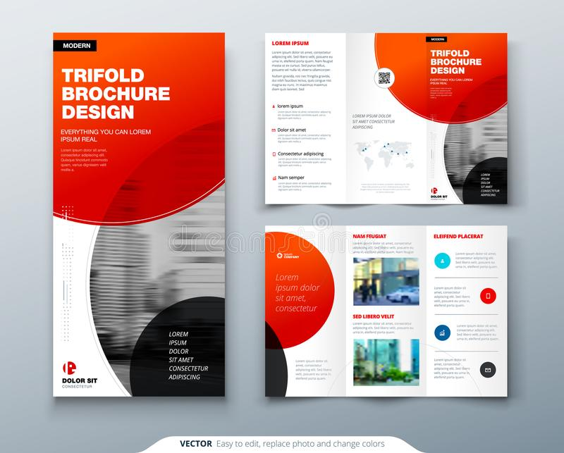 Tri fold brochure design. Red business template for tri fold flyer. Layout with modern circle photo and abstract. Background. Creative 3 folded flyer or stock illustration