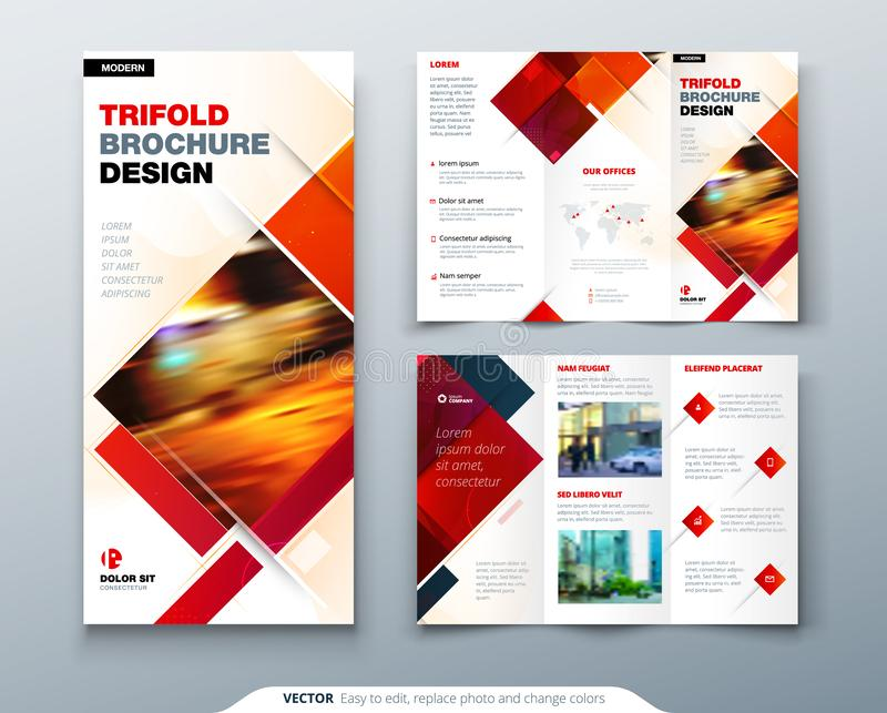 Tri fold brochure design with square shapes, corporate business template for tri fold flyer. Creative concept folded royalty free illustration