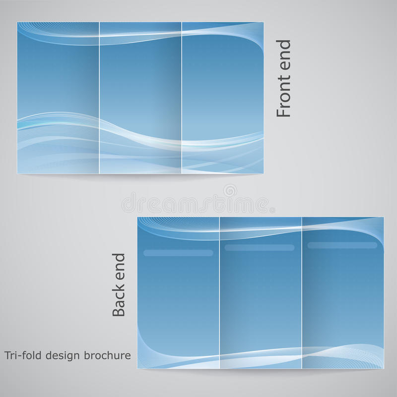 Tri-fold brochure design. Brochure template design with blue and white royalty free illustration