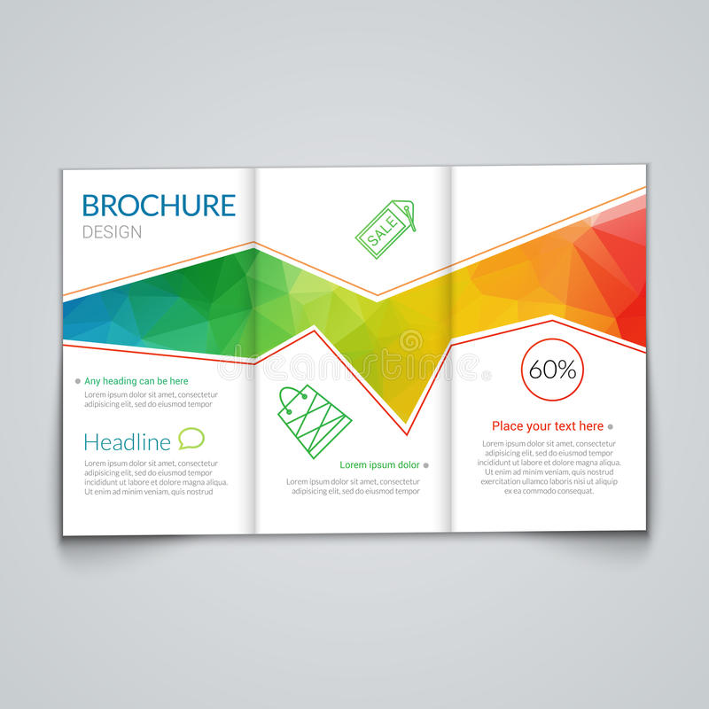 TriFold Brochure Design Template With Modern Polygonal Background
