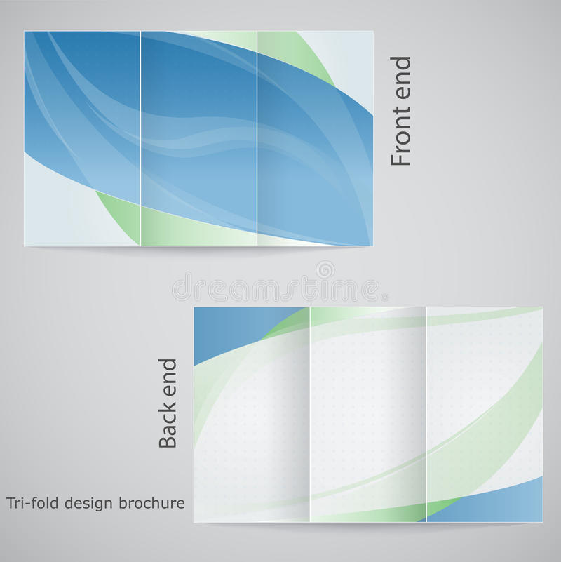 Tri-fold brochure design. Brochure template design in shades of blue and green vector illustration