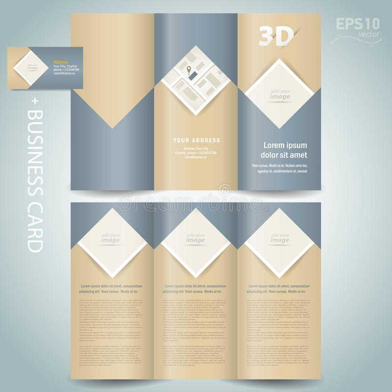 Tri-fold Brochure design template vector folder leaflet rhombus, square, block for images vector illustration