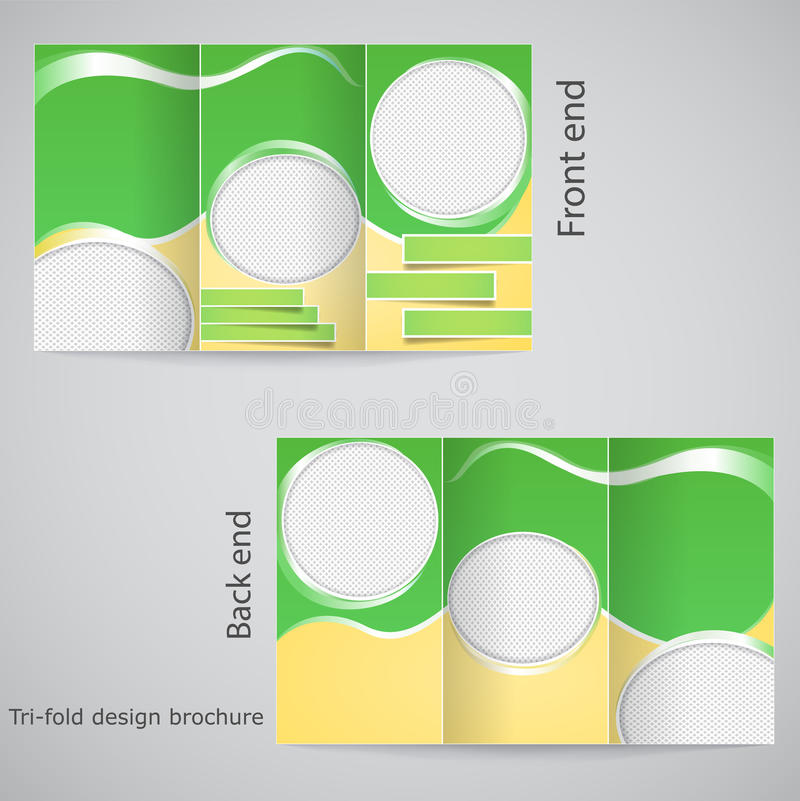 Tri-fold brochure design. Brochure template design with yellow and green stock illustration