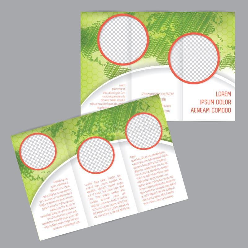 tri-fold world map and pointer illustration design stock illustration