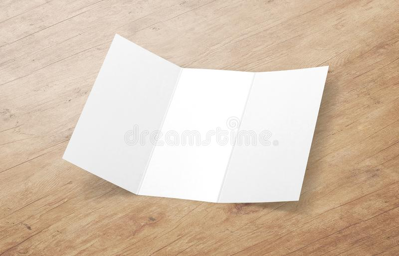 Tri-fold brochure mock-up. Blank brochure white template paper on background. stock photos