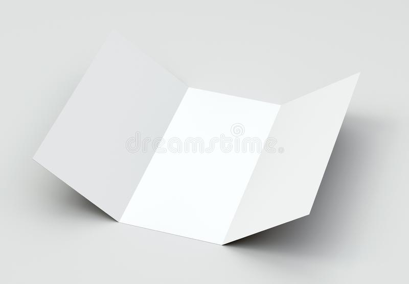 A4 Tri-Fold Brochure Mock-Up on gray Background. 3d rendering stock photo