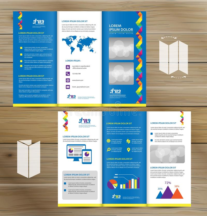 Tri-Fold Brochure Mock-up, Realistic Rendering of Tri-Fold Brochure Background, 3D Illustration. abstract business tri fold Leafle. Tri-Fold Brochure Mock-up stock illustration