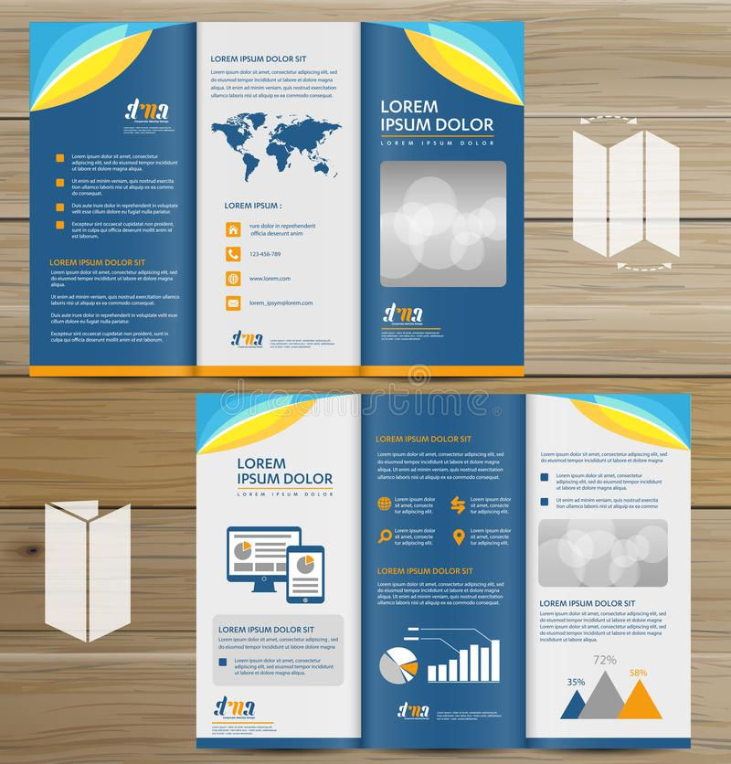 Tri-Fold Brochure Mock-up, Realistic Rendering of Tri-Fold Brochure Background, 3D Illustration. abstract business tri fold Leafle. Tri-Fold Brochure Mock-up royalty free illustration