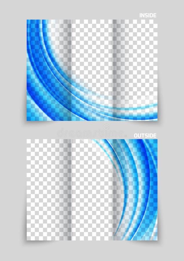 Tri-fold brochure template design. In blue color vector illustration