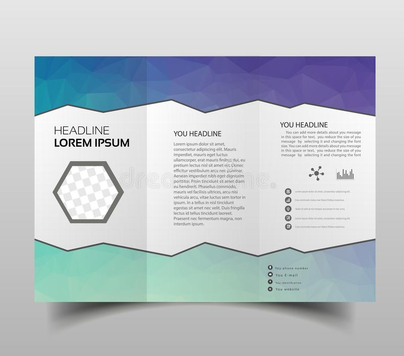 Tri-fold brochures, square design templates. Molecular construction with polgonal design, scientific pattern on abstract polygonal. Background, modern triangle stock illustration