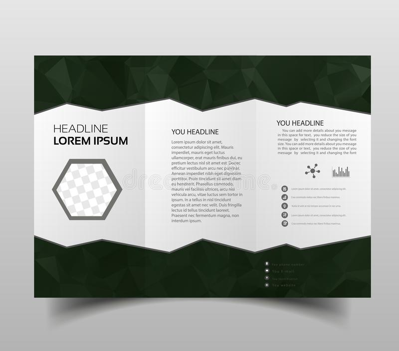 Tri-fold brochures, square design templates. Molecular construction with polgonal design, scientific pattern on abstract polygonal. Background, modern triangle royalty free illustration