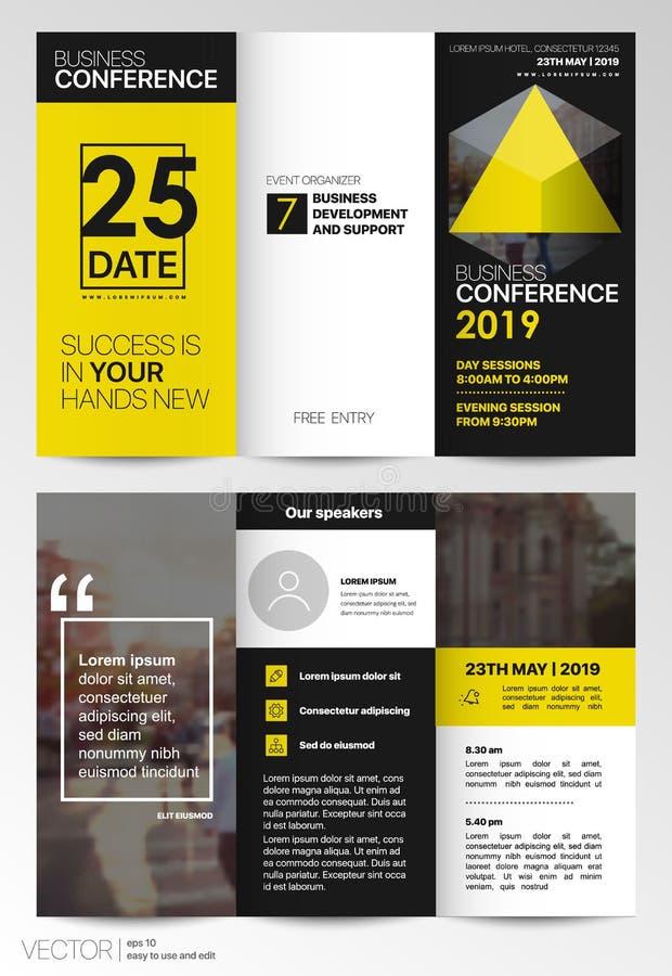Tri fold Business Brochure. Creative corporate business template for try fold brochure or flyer. royalty free illustration