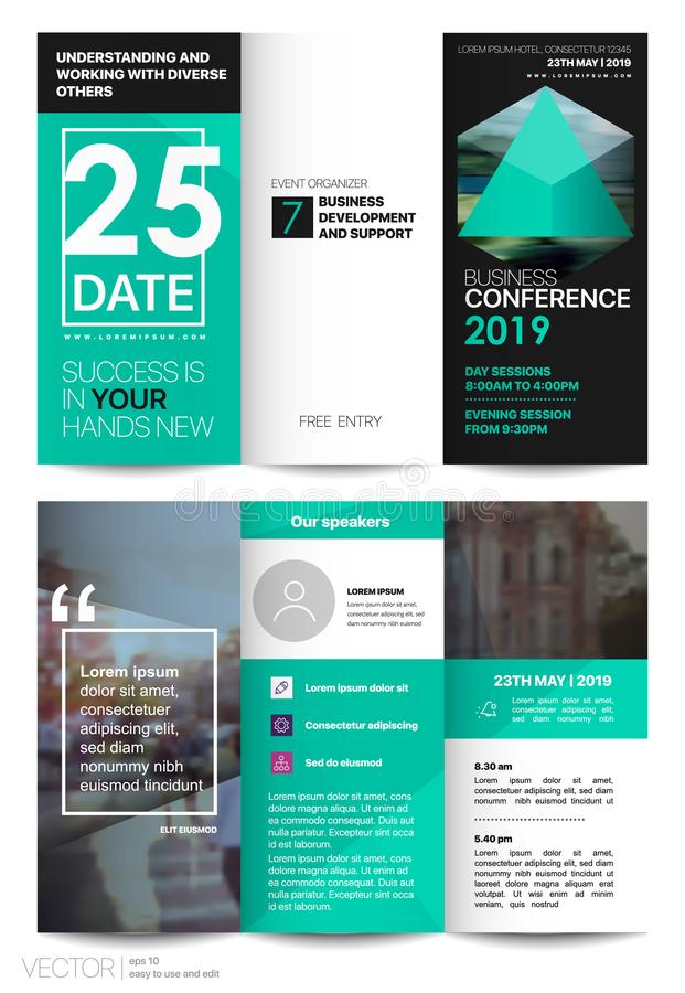 Tri fold Business Brochure. Creative corporate business template for try fold brochure or flyer. Layout with modern elements and abstract green background stock illustration
