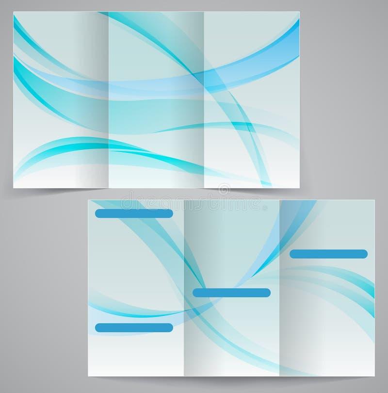Tri-fold business brochure template, vector blue d vector illustration