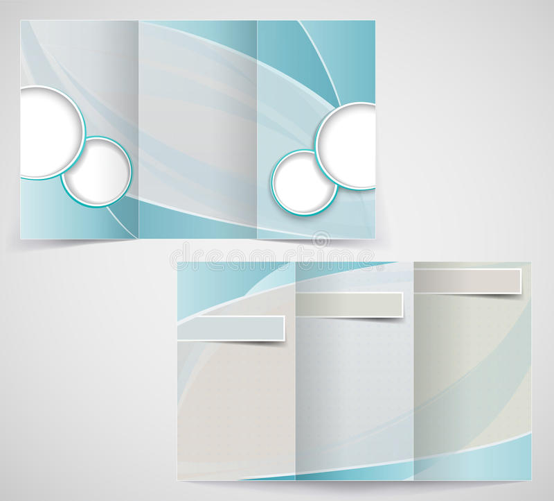 Tri-fold business brochure template, vector blue d royalty free illustration