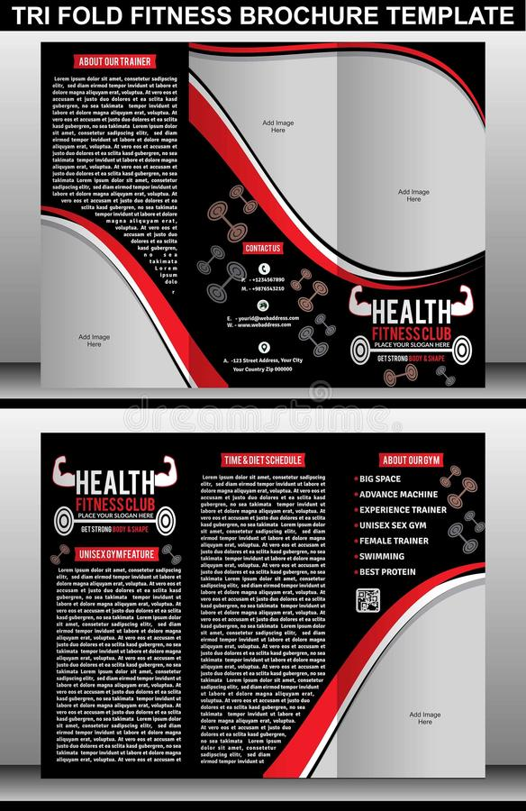 Tri Fold Fitness Brochure Template Stock Vector  Illustration Of