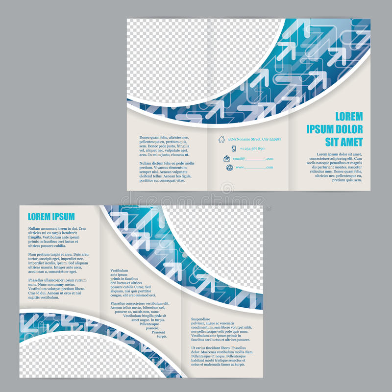 tri fold flyer template with arrows on blue wave stock vector