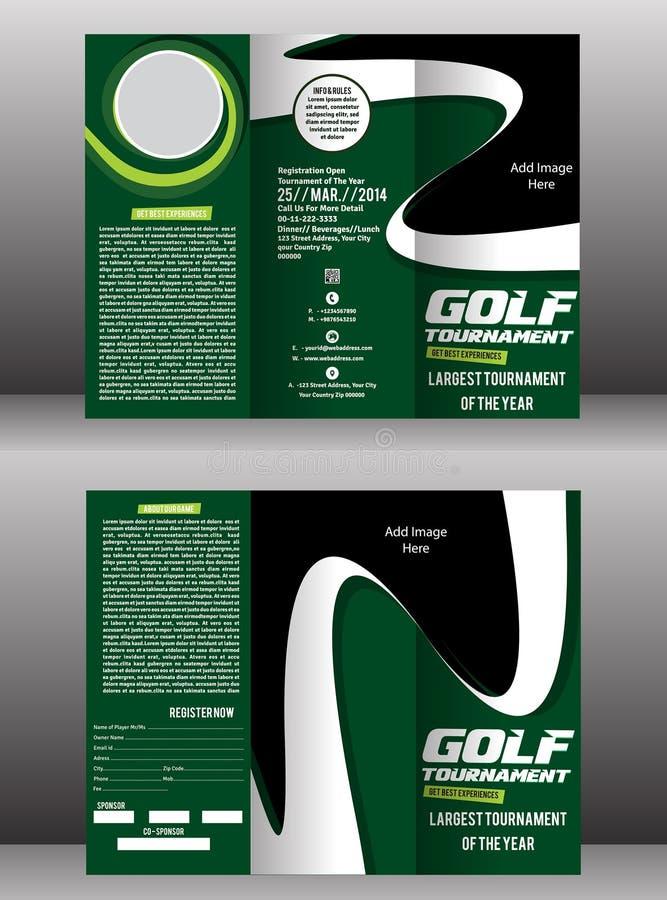 Tri Fold Golf Brochure Flyer Template Stock Vector Illustration - Golf brochure template