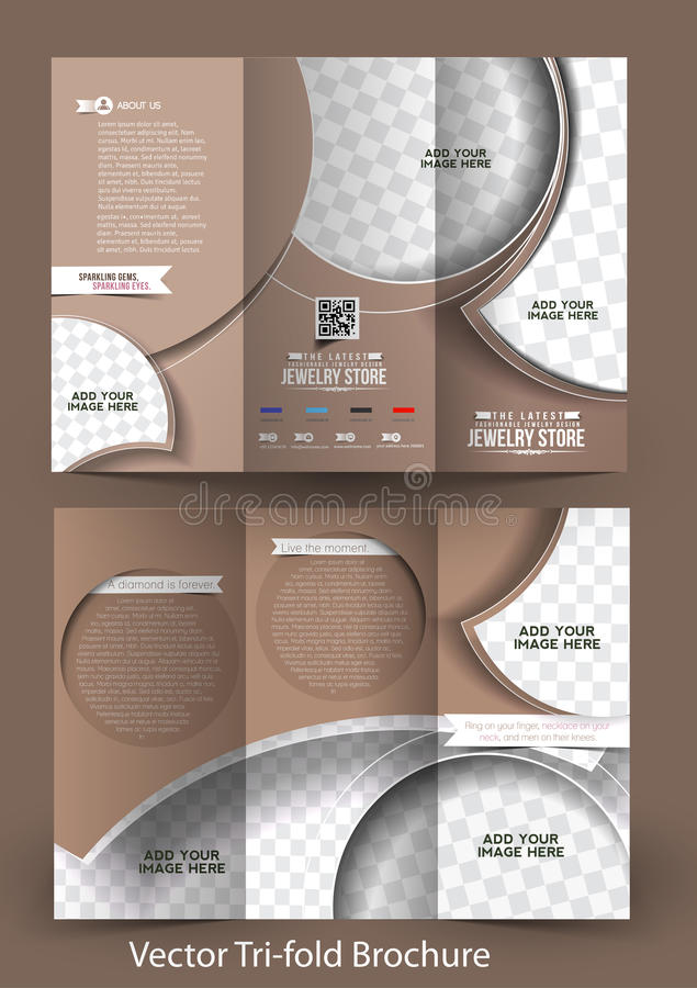 TriFold Jewelry Store Brochure Stock Vector  Illustration Of