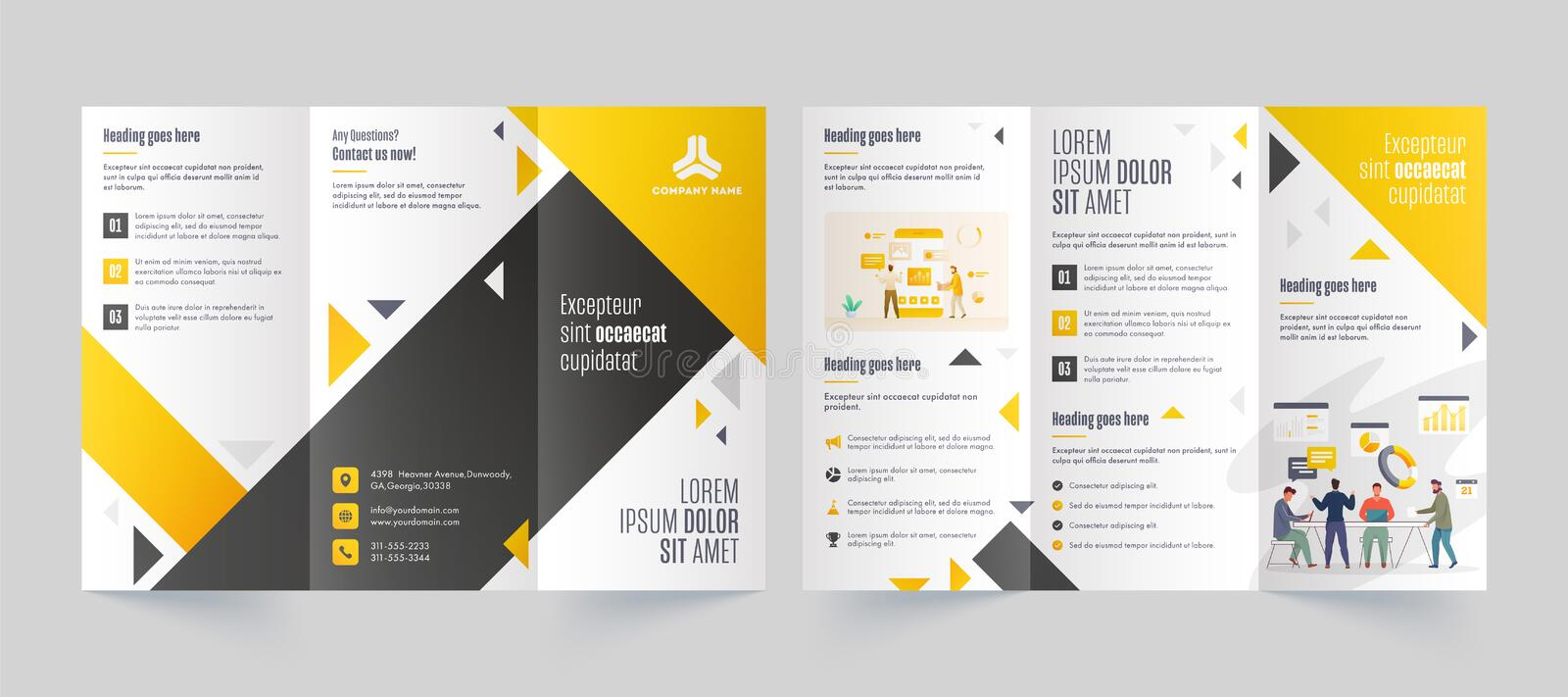 Tri Fold Leaflet Or Brochure Layout With Business People Character And Infographic Elements Stock Illustration Illustration Of Elements Design 167472978