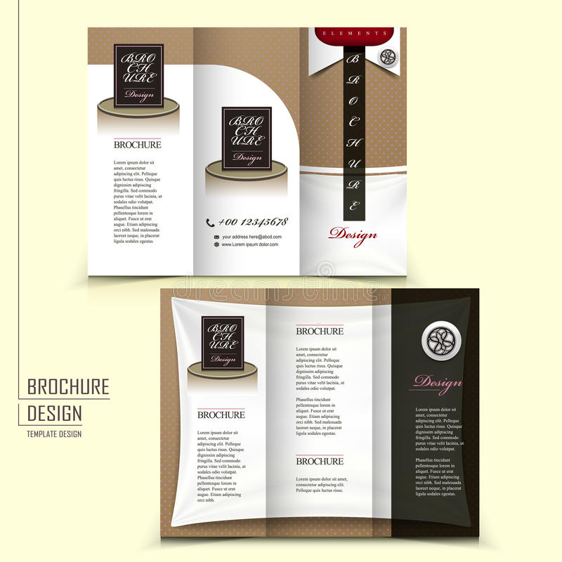Tri-fold template brochure for restaurant advertising royalty free illustration