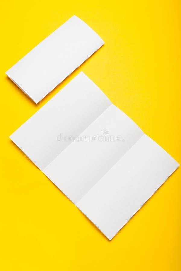 Tri fold white brochure paper blank, DL flyer, booklet design.  stock photos