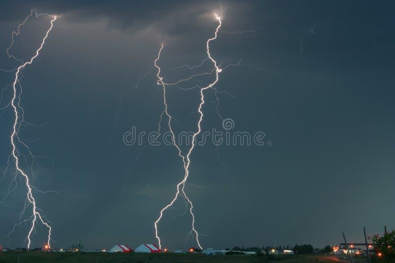 Tri Lightning Bolt Strike over Moose Jaw royalty free stock image