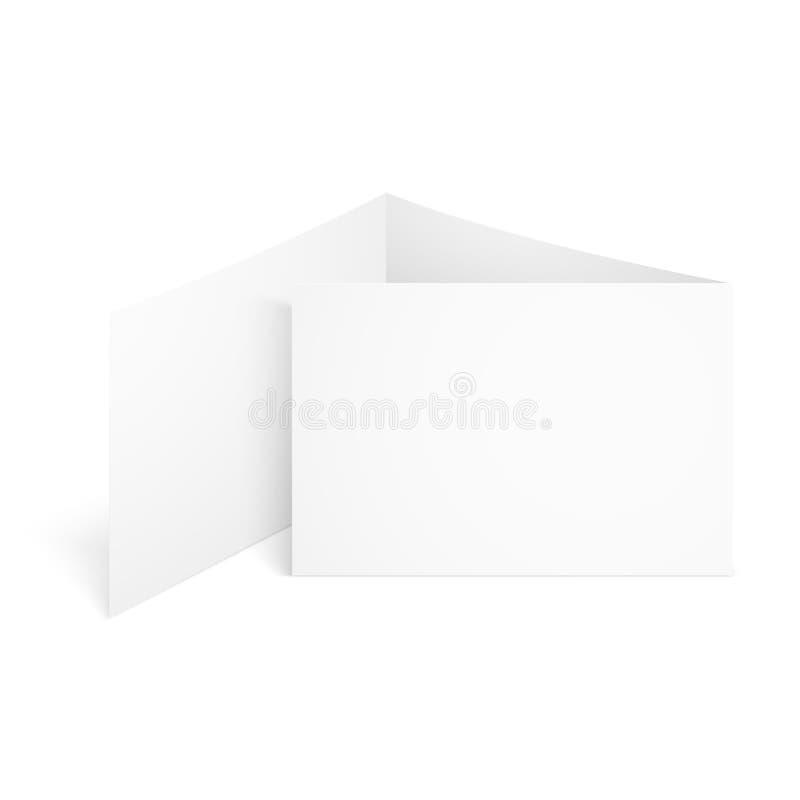 Tri maqueta doblada blanca en blanco del folleto Ejemplo de la plantilla de la maqueta del vector ilustración del vector