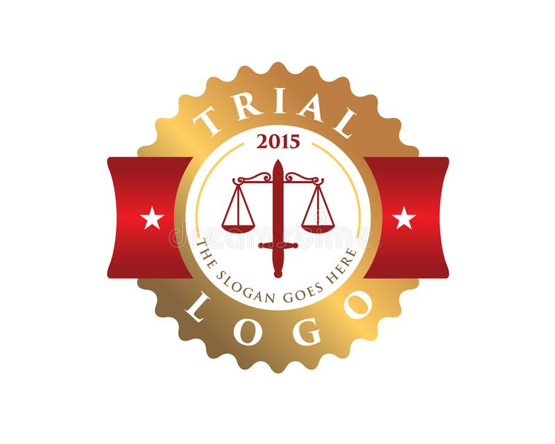 Trial court law justice emblem logo contains two hammer and a scale. Trial court law justice circular round emblem logo contains two hammer and a scale vector illustration