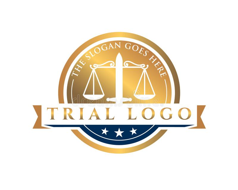 Trial court law justice emblem logo contains two hammer and a scale. Gold trial court law justice emblem logo contains two hammer and a scale vector illustration