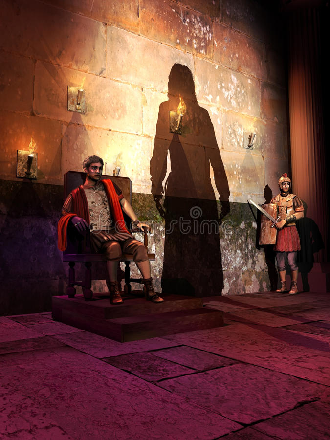 The trial of Jesus Christ before Pilate. Pontius Pilate sitting on a chair, faces Jesus Christ arriving before him with chains. A roman guard is surprised and vector illustration