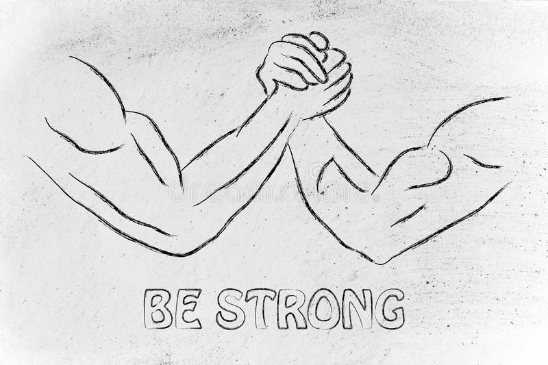 Trial of strength, arm wrestling design: be strong. Fitness and strength training: arm wrestling challenge illustration, be strong stock images