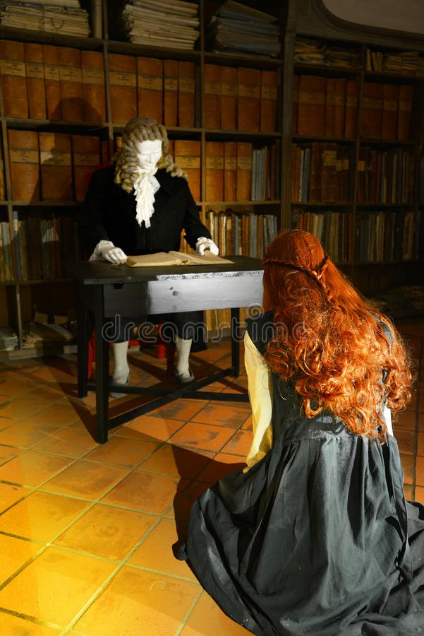 Trial to the witch in Riegersburg castle, Austria stock photos