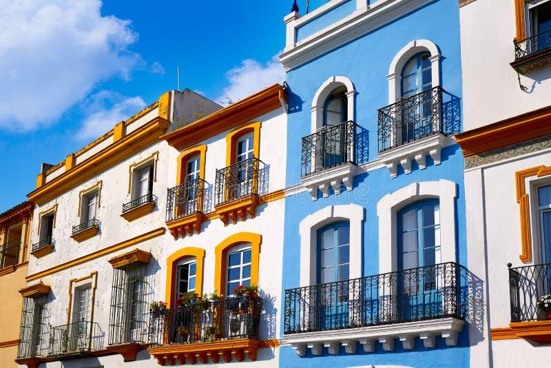 Triana barrio Seville facades Andalusia Spain. Triana barrio of Seville facades Andalusia Sevilla Spain stock photos