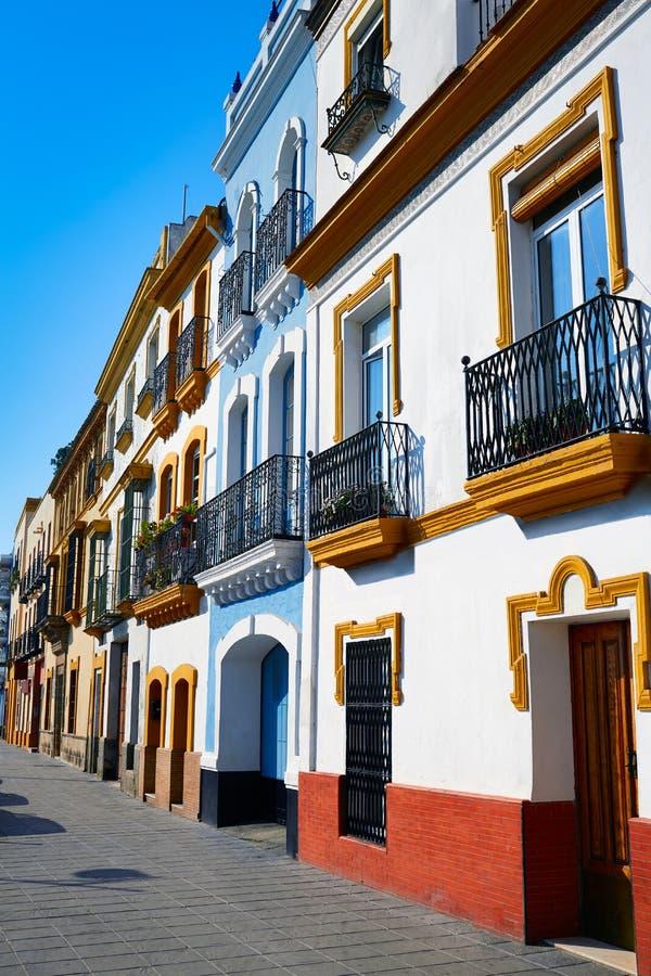 Triana barrio Seville facades Andalusia Spain. Triana barrio of Seville facades Andalusia Sevilla Spain stock image