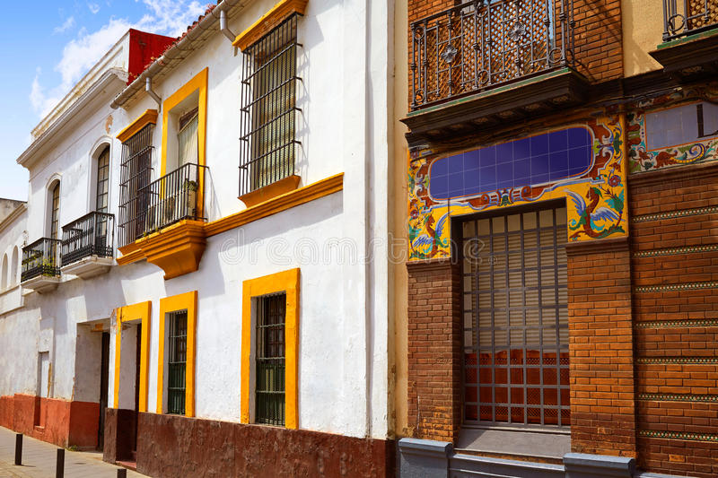 Triana barrio of Seville facades Andalusia Spain. Triana barrio of Seville facades Andalusia Sevilla Spain royalty free stock photo
