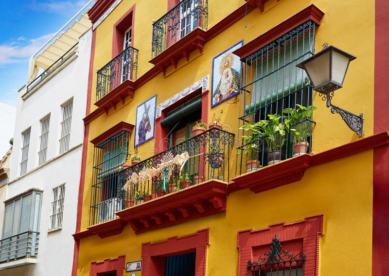 Triana barrio of Seville facades Andalusia Spain. Triana barrio of Seville facades Andalusia Sevilla Spain stock images